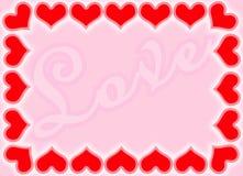 Valentine borders. Valentine hearts border with Love background royalty free illustration