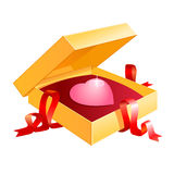 Valentine box. A present box with a heart as a gift Royalty Free Stock Photography
