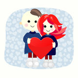 Valentine boy and girl with big heart Royalty Free Stock Photos