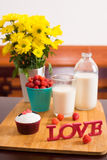 Valentine breakfast Stock Photos