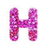 Valentine-brief H - 3d hartdoopvont In hoofdletters - geschikt voor de dag van Valentine, romantism of hartstocht verwante onderw royalty-vrije illustratie
