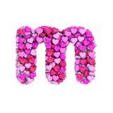 Valentine-brief M - 3d hartdoopvont In kleine letters - Geschikt voor de dag van Valentine, romantism of hartstocht verwante onde royalty-vrije illustratie