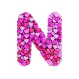 Valentine-brief N - Hoofd 3d hartdoopvont - geschikt voor de dag van Valentine, romantism of hartstocht verwante onderwerpen vector illustratie