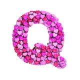 Valentine-brief Q - 3d hartdoopvont In hoofdletters - geschikt voor de dag van Valentine, romantism of hartstocht verwante onderw vector illustratie