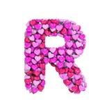 Valentine-brief R - 3d hartdoopvont In hoofdletters - geschikt voor de dag van Valentine, romantism of hartstocht verwante onderw royalty-vrije illustratie