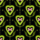 Valentine bright seamless pattern hearts butterfly texture black Stock Photos