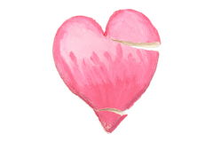 Valentine broken heart of salt dough on white background Royalty Free Stock Photography