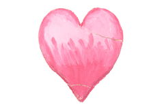 Valentine broken heart of salt dough on white background Stock Photo