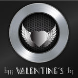 Valentine brushed metallic background with message Stock Images