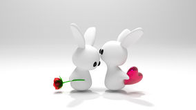 Valentine Bunnies. A pair of toy bunnies are kissing, and bringing the symbols of love Royalty Free Illustration