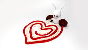 Valentine Bunny. A toy bunny draws a heart symbol with chocolate filling Stock Illustration