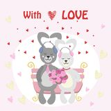 Valentine Bunny rabbit couple in love listening to music with headphones. Vector illustration, eps Stock Photography