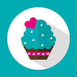 Valentine cake, flat icon with long shadow, vector Royalty Free Stock Photos