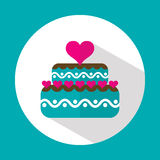 Valentine cake, flat icon with long shadow, vector Stock Image