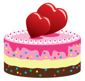 Valentine cake with hearts. Vector illustration of valentine cake with hearts royalty free illustration