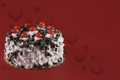 Valentine Cake With Hearts. Red Valentine Cake With Hearts Stock Photography