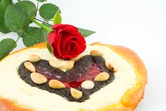 Valentine cake with rose Stock Photo