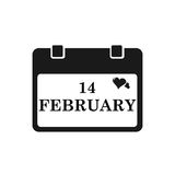 Valentine calendar icon in black color. Vector illustration Royalty Free Stock Photos