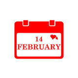 Valentine calendar icon in red color. Vector illustration Royalty Free Stock Photo