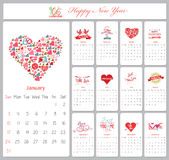 Valentine calendar for 2016 with love heart and greeting.  stock illustration