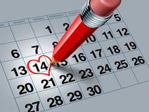 Valentine Calendar with Red Pencil Royalty Free Stock Photography