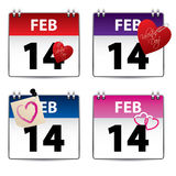 Valentine calendar set of four Royalty Free Stock Photo