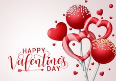 Free Valentine Candies Vector Background Template. Happy Valentines Greeting Text With Valentines Candy And Lollipop Elements. Stock Photography - 168684652