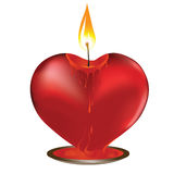 Valentine candle. Vector valentine candle in heart shape. Element for design Royalty Free Stock Photography