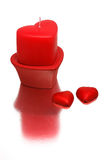 Valentine candle. With sweets stock photography