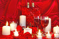 Valentine Candlelight and Wine Royalty Free Stock Photography