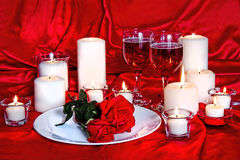 Valentine Candlelight, Wine and Roses Royalty Free Stock Images
