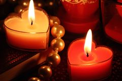 Valentine candles Stock Photography