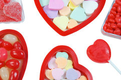 Valentine candy. Assortment of valentine candy on white background Royalty Free Stock Photos