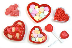 Valentine candy. Assortment of valentine candy on white background Stock Image