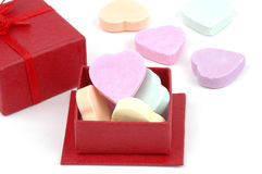 Valentine Candy. Candy hearts displayed in a red gift box Royalty Free Stock Photography