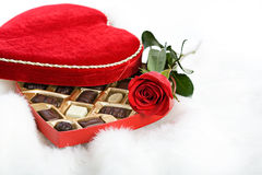 Valentine: Candy Box and Rose on Fur Stock Images