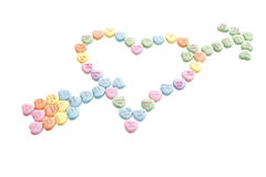 Valentine candy forming a heart Royalty Free Stock Image
