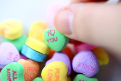 Valentine candy hearts Royalty Free Stock Images