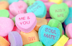 Valentine candy hearts Stock Photos