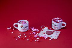 Valentine candy on a red background royalty free stock photography