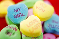 Valentine candy sweets. With focus on the my girl Royalty Free Stock Photos