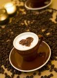 Valentine cappuccino Stock Image