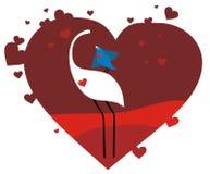Valentine card. Vector valentine card birds in love stock illustration