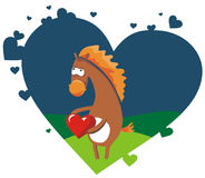 Valentine card. With nice horse holding red heart Royalty Free Stock Image
