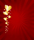 Valentine Card. Red and gold valentine card with hearts Royalty Free Stock Image