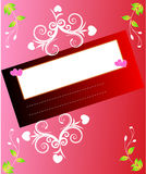 Valentine card. Valentine day card with scroll, floral and hearts Stock Photography