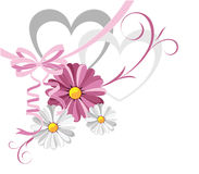 Valentine  card. Illustration of decorative heart with the daisies against the white background Royalty Free Stock Images