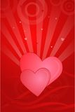 Valentine Card. Abstract valentine vector illustration with two hearts Stock Image