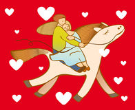 Valentine card. Loving couple on the riding horse with heart symbols vector illustration
