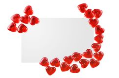 Valentine Card. Blank valentine Card (Perfect to write your own text) isolated on white Stock Photos